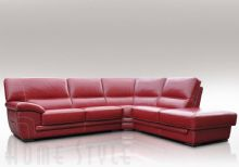 Cerise Leather Corner Sofa